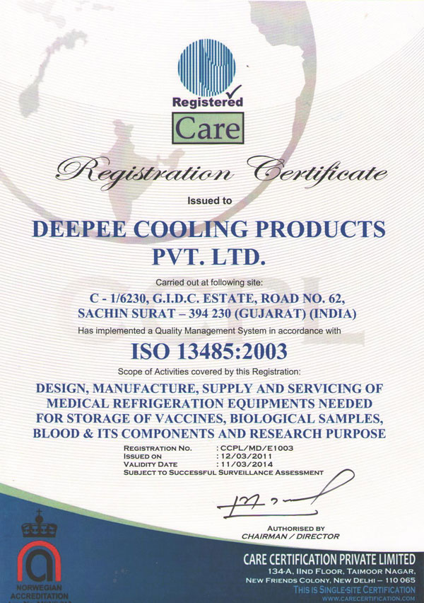 registered care certificate, registration certificate, iso certificate, medical refrigeration equipments, medical refrigeration for storage of vaccines, medical refrigeration for storage of biological samples, medical refrigeration for storage of blood, manufacturer of medical refrigeration, supplier of medical refrigeration, care certification private limited, pc managment system private limited, certificate of registration